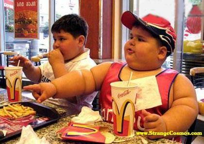 fat kids are enjoying food
